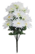 "White 16-Gerbera Mums 21"" Bouquet Silk Flower Home Office Kitchen Wedding Decor"