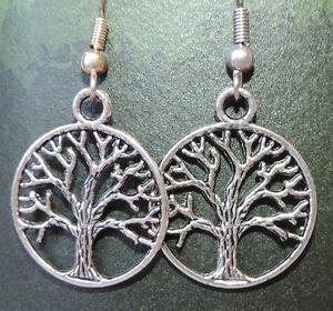 Tibetan silver Tree of life dangle earrings on silver plated hook