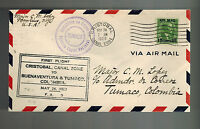 1929 Panama Canal Zone First Flight Cover FFC to Tumaco Colombia