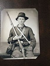 Civil War Military Soldier With Rifle & Hat tintype C204RP