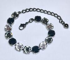 Crystal Bracelet Hematite Plate Made W/Swarovski Elements Grey Black White