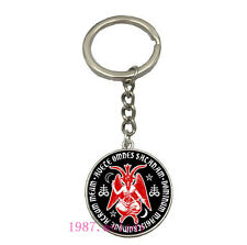 Vintage Glass Cabochon silver Matal Car Key chain ring pendant(satanic pentagram