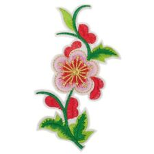 Japanese Style Red Flower (Iron On) Embroidery Applique Patch Sew Iron Badge