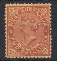 WA158) Western Australia 1902-11 QV 2/- Brown-red on yellow SG 124c, Fresh MUH,