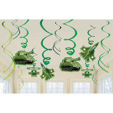 CAMOUFLAGE MILITARY SWIRL DECORATIONS (12) ~ Birthday Party Supplies Jets Tanks