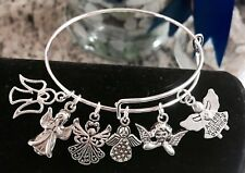 6 Angel Silver charms Expandable Bangle Bracelet For Angel lovers