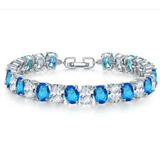 Woman Jewelry Titanic Ocean Blue Topaz Gems Silver Chain Bracelets