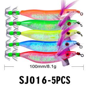 5pcs Shrimp Lures Octopus Squid Jigs Luminous Fishing Tackle Hook Bait 10cm/8.1g