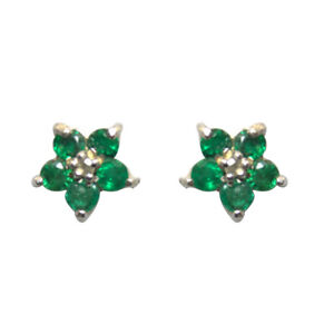 Emerald and Diamond Stud Earrings Yellow White Rose 9ct Gold