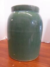 "Antique Yellow Ware Pottery Glazed Green Crock/Tall Jar 91/2""H 7""W 5 1/2"" lip"