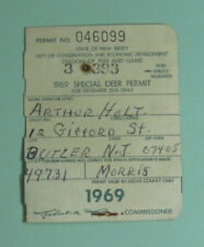 1969 New Jersey Special Deer Hunting Permit License Tag..Free Shipping!