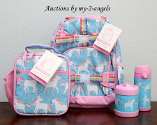 NEW Pottery Barn Kids AQUA UNICORN Small Backpack Lunch Bag Water Bottle Thermos