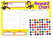 Monkeys Kids Children's Reward Chart Star Stickers Behaviour Preschool Nursery