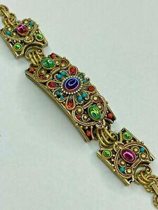 Michal Golan Iridescent Rainbow Statement Bracelet in 24K Gold Handmade