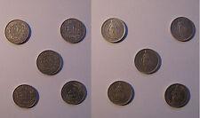 LOTTO 5 MONETE 2 FRANCHI SVIZZERI - 1943 1948 1958 1961 1963 - ARGENTO