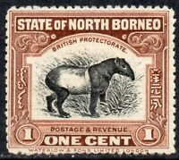 1909-1923 North Borneo Sg 159a 1c brown (Perf 14½ x 15) Mounted Mint