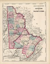 1872 Map of Wayne and Pike Counties, Pennsylvania- Original