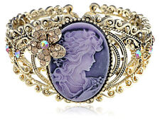 Cameo Lady Amber Crystal Rhinestone Brass Cuff Bangle Bracelet Jewelry fashion k