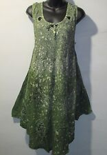 Dress Fits 1X 2X 3X Plus Sundress Tunic Green Gray Stamp Art A Shaped NWT 7114