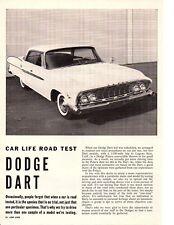 1961 DODGE DART 318/230 HP ~ ORIGINAL 4-PAGE ROAD TEST / ARTICLE / AD