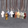 Cross Natural Stone Agate Quartz Charms Pendant Necklace Women Men Choker Gift