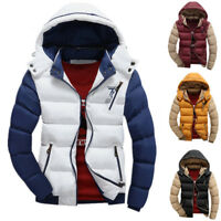 Mens Winter Zipper Thick Duck Down Jacket Fur Collar Parkas Hooded Coat