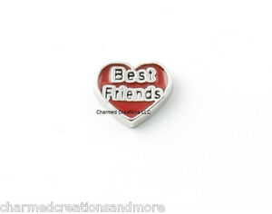 10pc Lot Best Friends Red Heart Floating Charm For Glass Memory Locket Necklace