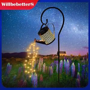 Solar Powered LED String Light Watering Can Garden Art Lamp Decor Hollow Outdoor