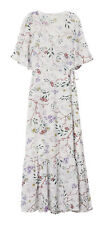 H&M Women's Short Sleeve Wrap Dress, White/Floral - Size 12