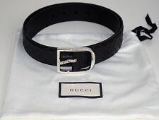 GUCCI Herren Damen Original Gürtel Guccissima - Leder schwarz - silber Größe 95