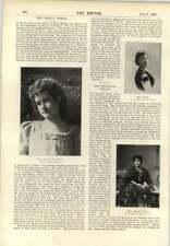 1896 Miss Margaret Reid Kentucky OPERA ACTEURS Orphelinat Carson Clement Scott