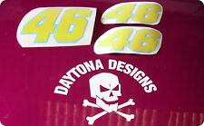 CUSTOM SET NUMBER 46 RACE FAIRING PANEL SEAT DECALS STICKERS YELLOW BLUE