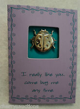 b Ladybug Pin mini card I like you come bug me Friendship Crush tack jewelry