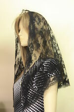 Black veils and mantilla Catholic church chapel mourning funeral lace Mass BFL