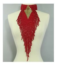 Red beaded choker statement necklace earrings set bib showgirl glam drag queen