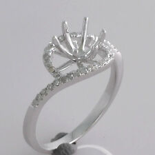 6.0mm Round Cut Solid 14kt White Gold Natural Diamond Semi Mount Engagement Ring