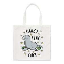 Crazy Seal Lady Stars Small Tote Bag - Funny Animal Shoulder