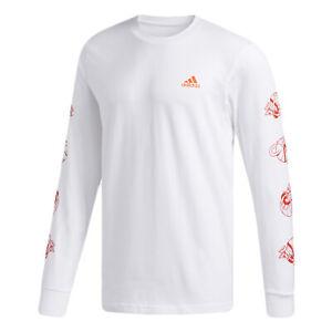 Adidas Men's Lil Stripe Long Sleeve T-Shirt, White