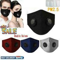 5x PM2.5 Anti Haze Face Mask Respirator Double Valve + Filters Washable Reusable