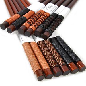 NEW 6 Pairs Handmade Japanese Natural Chestnut Wood Chopsticks Set Value Gift