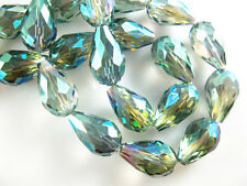 20 Green Colorized Glass Crystal Faceted Teardrop Beads 10x15mm Spacer Findings