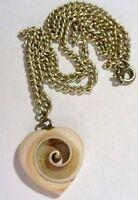 collier pendentif bijou rétro vintage chaine coul argent coeur coquillage 4300
