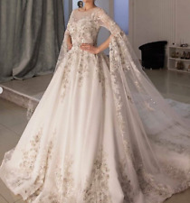 Princess Lace Applique Wedding Dress Beaded Sequins Crystals Bridal Gown 2022