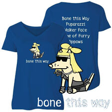 Teddy the Dog Ladies T Shirt Bone This Way Curvy V Neck Tee Lady Gaga Parody Ltd