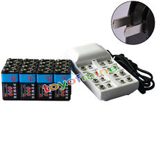 16x 9V 6F22 PPS 600mAh Ni-Mh Rechargeable Battery + 8 Slot Batteries Charger