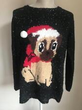 Papaya Womens Black Embellished Christmas Jumper Size 12-14 (57)
