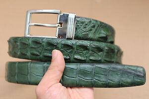 "No Jointed Green Real Alligator Crocodile Leather Skin Men's Belt - W 1.3"""