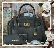 NWT MICHAEL KORS Large Satchel KARSON BAG + WALLET In BLACK Pebbled Leather Gold