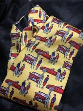 BMW Vintage Silk Necktie. Made In Italy. Rare Collectible Yellow Red