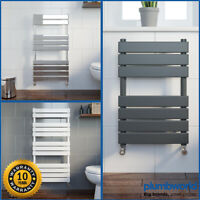 Designer Flat Panel Heated Bathroom Towel Rail Radiator Chrome White Anthracite